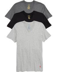Polo Ralph Lauren 3-pack Slim Fit V-neck T-shirts, Black