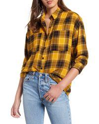 BP. Plaid Boyfriend Shirt - Yellow