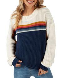 Rip Curl Rise And Shine Stripe Sweater - Blue