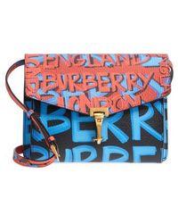 Burberry - Small Macken Graffiti Print Leather Crossbody Bag - - Lyst