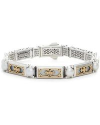 Konstantino - Etched Silver & Gold Link Bracelet With Genuine Pearl - Lyst