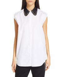 7ae66b2519fb4b 3.1 Phillip Lim Short-Sleeve Shirt With Jeweled Neckline in Purple ...