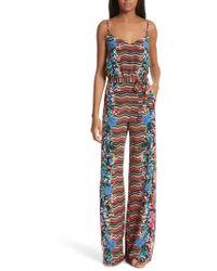 Saloni - Loretta Floral & Stripe Print Silk Jumpsuit - Lyst