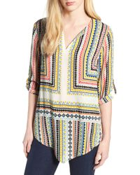 Chaus - Geo Voyage Roll Tab Blouse - Lyst