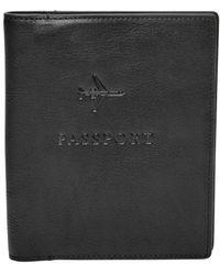 Fossil Leather Passport Case - Black