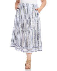 Karen Kane Tiered Midi Skirt - Blue