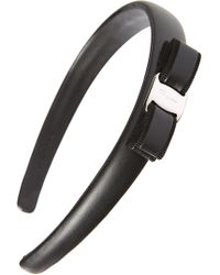 Ferragamo Bow Leather Headband - Black