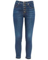 Veronica Beard - Debbie Frayed Crop Skinny Jeans - Lyst