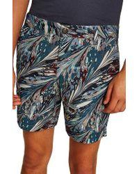 TOPMAN - Marble Print Shorts - Lyst