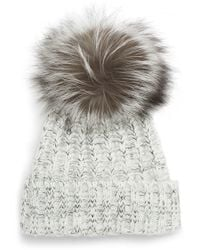 Kyi Kyi Beanie With Genuine Fox Fur Pom - Gray
