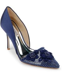 Badgley Mischka Ophelia Beaded Floral Pointed Toe Pump - Blue