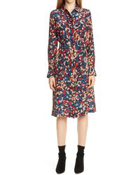 Lafayette 148 New York Mona Print Long Sleeve Silk Shirtdress - Multicolor