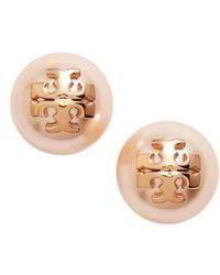 Tory Burch - Swarovski Crystal Pearl Logo Stud Earrings - Lyst