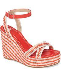 BP. Gabby Woven Wedge Sandal - Red