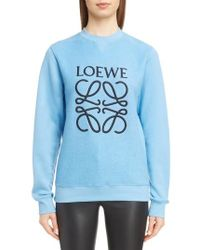 Loewe - Embroidered Cotton Sweatshirt - Lyst