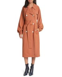 Tibi | Draped Twill Trench Coat | Lyst