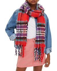 TOPSHOP - Heavy Check Scarf - Lyst