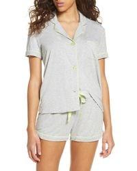 PJ Salvage Womens Sleepwear Pajama Short with Detail Silver Floral Large