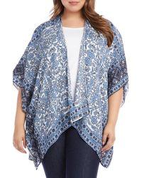 Karen Kane Drape Front Kimono - Blue