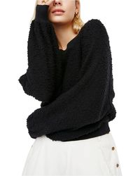 Free People Found My Friend Bouclé Pullover - Black