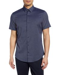 Calibrate Slim Fit Short Sleeve Button-up Shirt - Blue