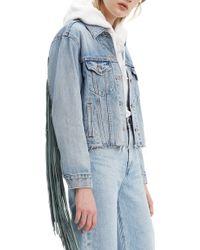 Levi's Ex-boyfriend Fringe Trucker Jacket - Blue