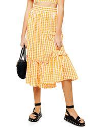 TOPSHOP Gingham Wrap Midi Skirt - Orange