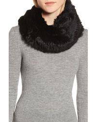 Jocelyn Genuine Rabbit Fur Infinity Scarf - Black
