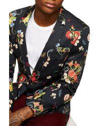 TOPMAN - Skinny Fit Floral Print Sport Coat - Lyst