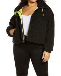 BP. Neon Baby High Pile Faux Fur Jacket - Black
