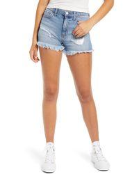 Tinsel Distressed High Waist Denim Shorts - Blue