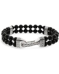 John Hardy - Classic Chain Double Row Black Onyx Bead Bracelet - Lyst