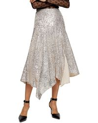 TOPSHOP Idolasymmetric Sequin Midi Skirt - Metallic