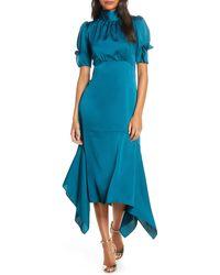 Eliza J Ruffle Puff Sleeve Dress - Blue