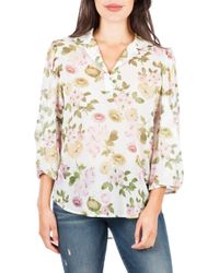 Kut From The Kloth Felice Floral Split Neck Blouse - White
