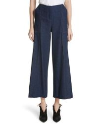 Hellessy - Dune Imitation Pearl Trim Wide Leg Crop Jeans - Lyst