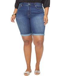 NYDJ Briella Cool Embrace Roll Cuff Denim Shorts - Blue