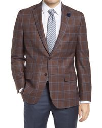 Hart Schaffner Marx Classic Fit Deco Plaid Wool Sport Coat - Brown