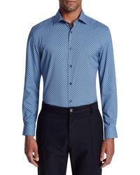 W.r.k. Trim Fit Performance Geometric Dress Shirt - Blue