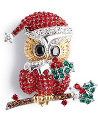Nadri Jolly Owl Pin - Red