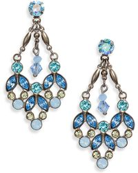 Sorrelli Floral Crystal Statement Earrings - Blue