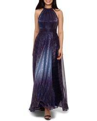 Betsy & Adam Metallic Ombré Gown - Blue