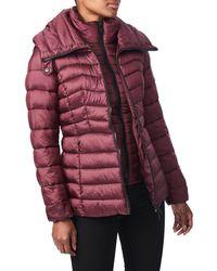 Bernardo Packable Ecoplumetm Hooded Puffer Jacket, Red