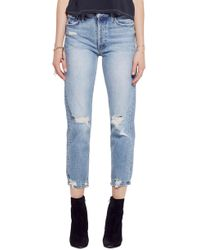 7743c8d7c7 Lyst - Mother The Tomcat Ripped Crop Straight Leg Jeans in Blue