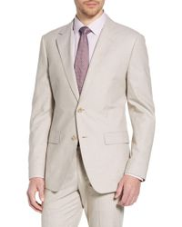 2f26ba1c BOSS Cream Nylen Perry Slim-fit Cotton Suit in Natural for Men - Lyst