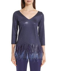 sports shoes 3e73d 3d8d8 Lyst - Donna Karan Cashmere Sequined V-neck Top in Metallic