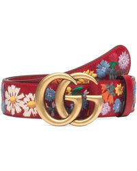 89f023e0535 Gucci Gg Flower Embroidered Calfskin Leather Belt Lyst. Lyst Gucci Leather  Belt With Metal Flower In Pink