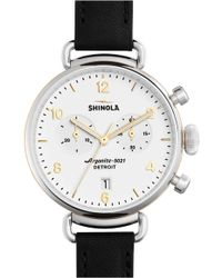 Shinola - 'the Canfield Chrono' Leather Strap Watch - Lyst