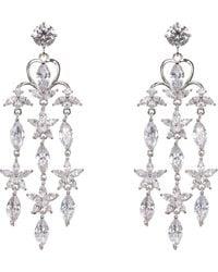 Nina Cinzia Cz Floral Chandelier Earrings - Metallic