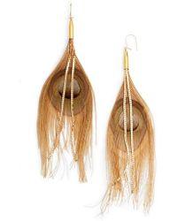 Serefina - Peacock Feather Earrings - Lyst